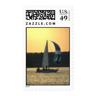 Spinnaker Sailboat Sunset Postage Stamp