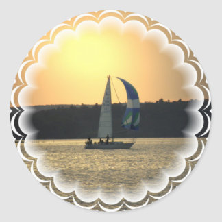 Spinnaker Sailboat Sunset Stickers