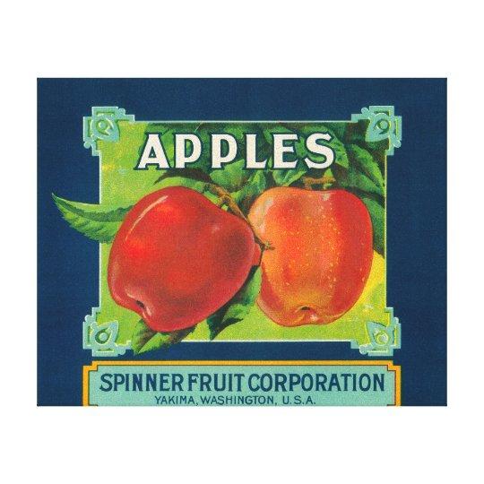 Spinner Fruit Apple Label - Yakima, WA Canvas Print