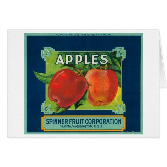 Spinner Fruit Apple Label - Yakima, WA Card