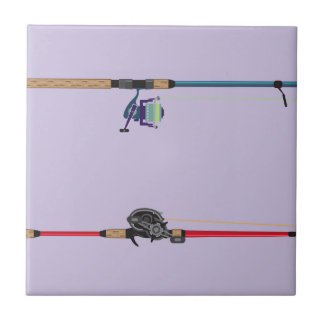 Spinning and baitcasting rods with reels handles ceramic tile