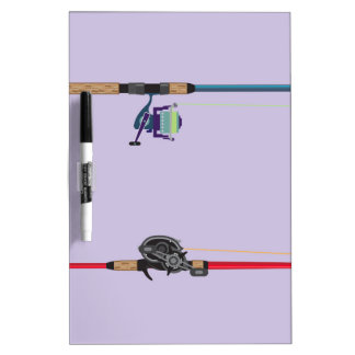 Spinning and baitcasting rods with reels handles Dry-Erase board