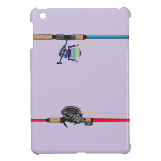 Spinning and baitcasting rods with reels handles iPad mini covers