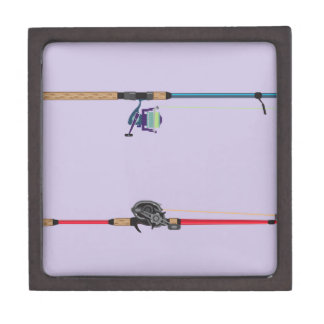 Spinning and baitcasting rods with reels handles jewelry box