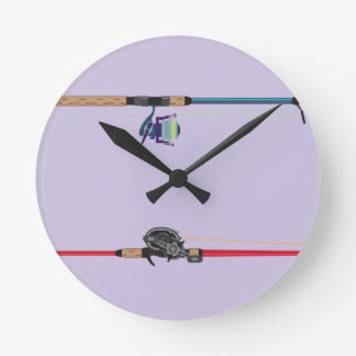 Spinning and baitcasting rods with reels handles round clock