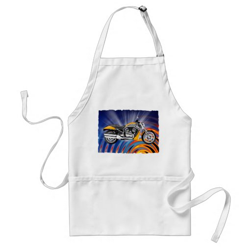 Spinning Circles with Gold Motorcycle Adult Apron