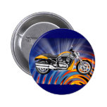 Spinning Circles with Gold Motorcycle Pinback Buttons