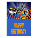 Spinning Circles with Gold Motorcycle Greeting Card