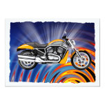 "Spinning Circles with Gold Motorcycle 5"" X 7"" Invitation Card"
