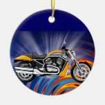 Spinning Circles with Gold Motorcycle Christmas Ornaments