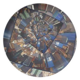 Spinning City Walls Dinner Plate