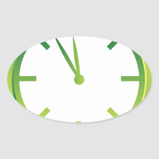 Spinning Clock icon green Oval Sticker