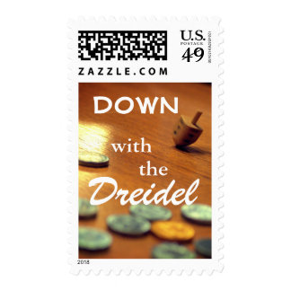 Spinning Dreidel Photo with Funny Hanukkah Text Postage
