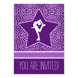 Spinning Figure Skater with Purple Cheetah Print Card