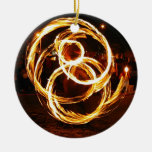 Spinning Fire - Abstract Double-Sided Ceramic Round Christmas Ornament