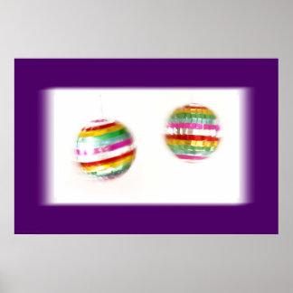 Spinning Glitterballs Pair Purple Border Poster