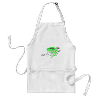 Spinning green tornado adult apron