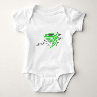 Spinning green tornado baby bodysuit