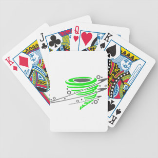 Spinning green tornado bicycle playing cards