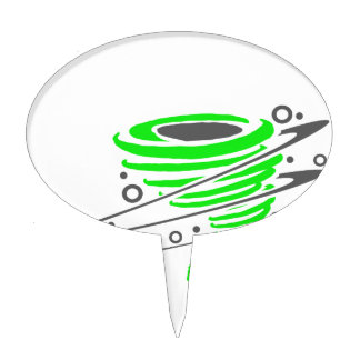 Spinning green tornado cake toppers