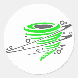 Spinning green tornado classic round sticker
