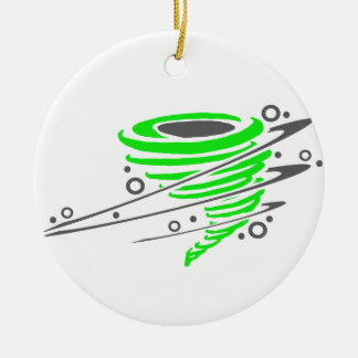 Spinning green tornado Double-Sided ceramic round christmas ornament