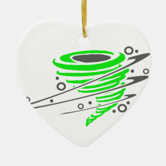 Spinning green tornado Double-Sided heart ceramic christmas ornament