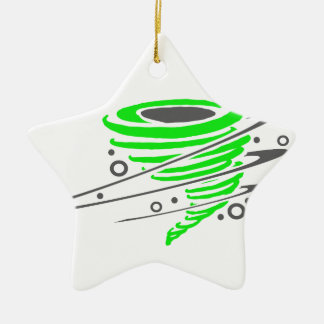 Spinning green tornado Double-Sided star ceramic christmas ornament