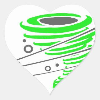 Spinning green tornado heart sticker