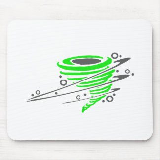 Spinning green tornado mouse pad