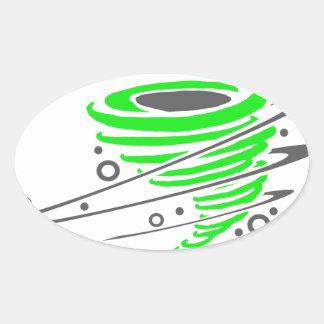Spinning green tornado oval sticker