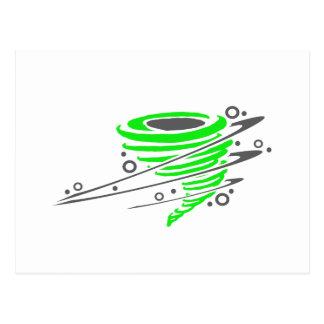 Spinning green tornado postcard