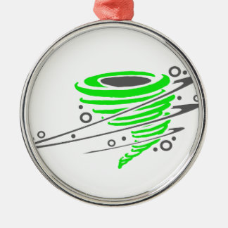 Spinning green tornado round metal christmas ornament