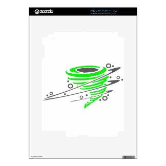 Spinning green tornado iPad 2 decal
