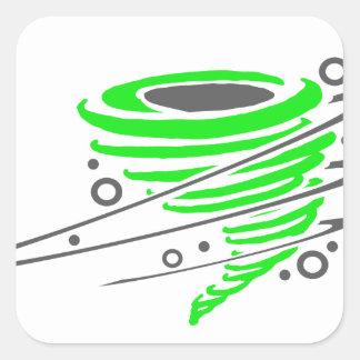 Spinning green tornado square sticker