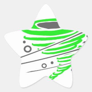 Spinning green tornado star sticker