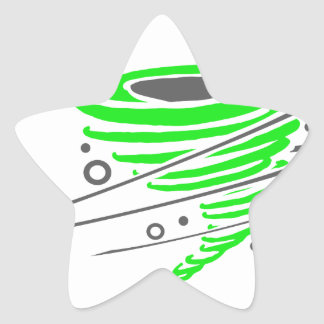 Spinning green tornado star stickers