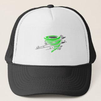 Spinning green tornado trucker hat