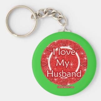 spinning-hearts-i-love-my-husband basic round button keychain