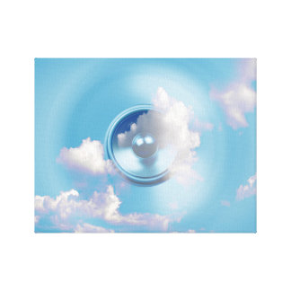 Spinning music speaker in a blue sky canvas print