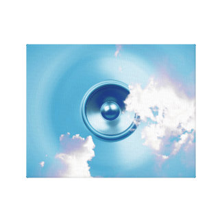 Spinning music speaker with clouds canvas print