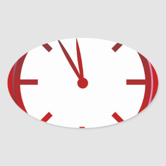 Spinning Red Clock Icon Oval Sticker