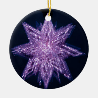 spinning_star_purple SPINNING PURPLE GLITTER SPARK Double-Sided Ceramic Round Christmas Ornament