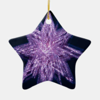 spinning_star_purple SPINNING PURPLE GLITTER SPARK Double-Sided Star Ceramic Christmas Ornament