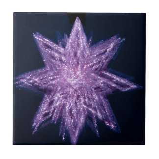 spinning_star_purple SPINNING PURPLE GLITTER SPARK Small Square Tile