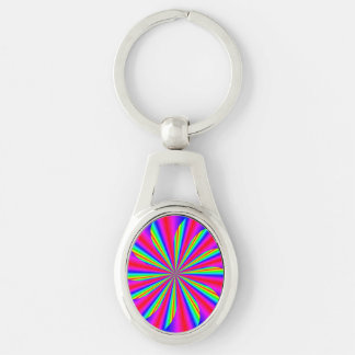 Spinning star Silver-Colored oval metal keychain