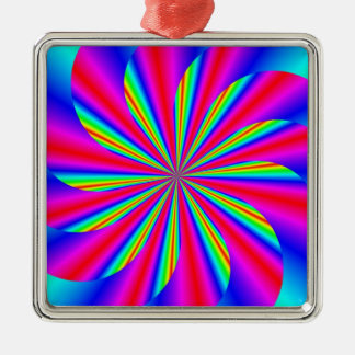 Spinning star square metal christmas ornament