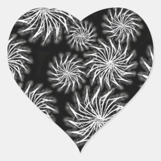 Spinning stars energetic pattern black heart sticker