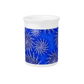 Spinning stars energetic pattern dark blue beverage pitcher