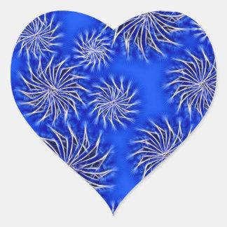 Spinning stars energetic pattern dark blue heart sticker